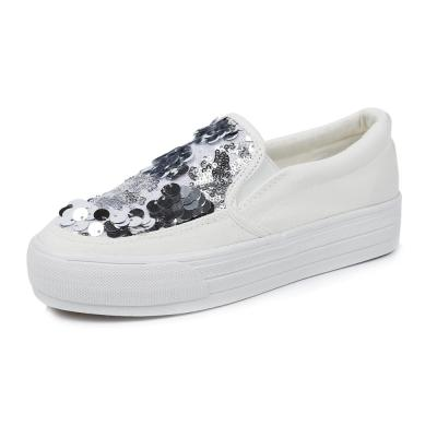 Spring Autumn Fashion White Canvas Shoes Flats Sequins Women Loafers platform Comfortable Flat Walking Shoes