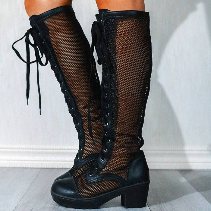 Mesh Shoelaces and Zipper Chunky Heels Summer Boots Platform Women Shoes Knee High Boots