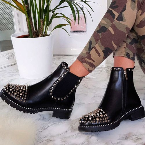 Platform Chunky Heels Fashion Ankle Boots Shoes Women Street