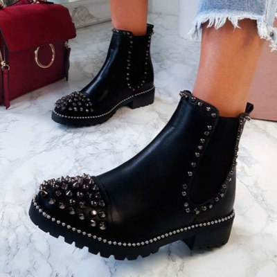 Platform Chunky Heels Fashion Slip On Ankle Boots Shoes Women Street Punk Cool Chelsea Boots