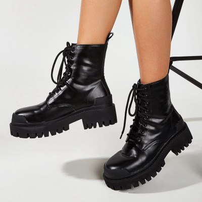 Fashionable Brand New Rubber Sole  Hot Sale Shoelaces Women Shoes Motorcycles Boots Female Footwear