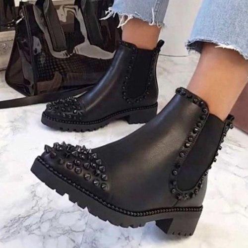Platform Chunky Heels Fashion Ankle Boots Shoes Women Street