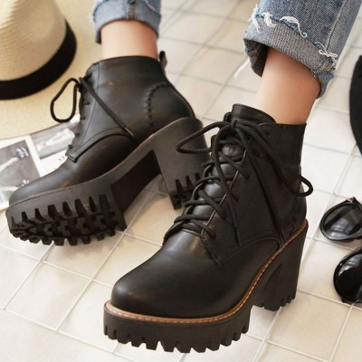 Square High Heels Female Ankle Boots Leisure Platform Women Shoes