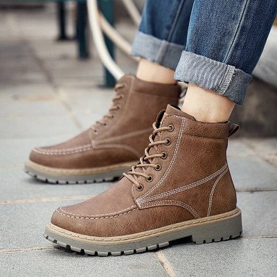 Martin Boots Men Leisure Outdoor Short Boots British Retro Cowhide Leather Boots Winter Warm Men Shoes