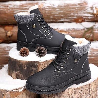 Winter Fur Warm Male Boots for Men Casual Shoes Work Adult Walking Footwear Sneakers