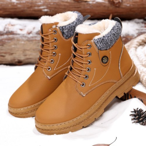 Winter Fur Warm Male Boots for Men Casual Shoes Work Adult Walking Footwear Sneakers