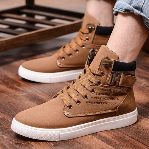 New Men's Casual Shoes High-Top Autumn Winter Lace-up  Ankle Boots