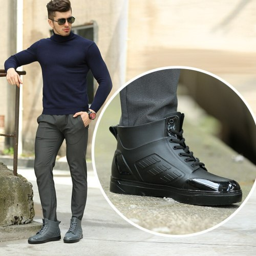 Men's Rainboots Waterproof Black Ankle Boots