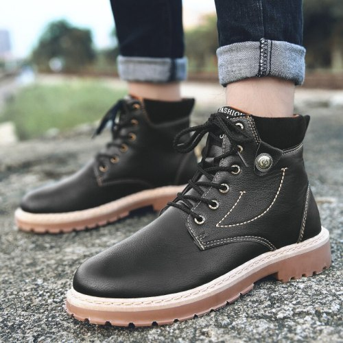Men Leather Boots Fashion Motorcycle  Boots Retro Black Boot Shoes