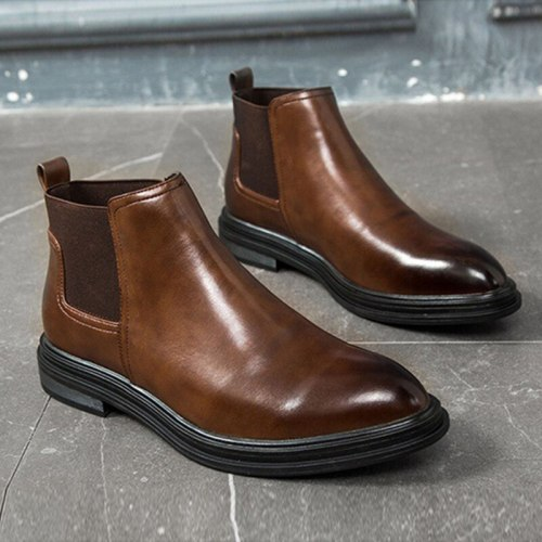 Winter Chelsea Boots Men Leather Shoes Men Ankle Boots Male Footwear