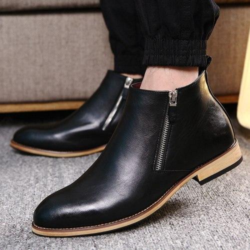 Men Shoes Footwear Zipper Business Ankle Adult Men Boots