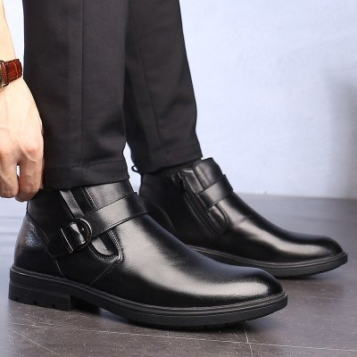 Men Boots Genuine Leather Plush for Cold Winter Ankle Boots
