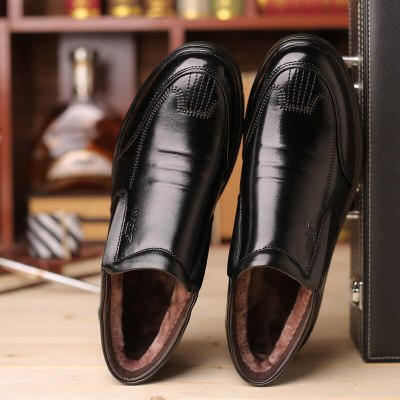 Leather Winter Men Business Boots Slip-on Fur Warm Men Snow Boots Casual Ankle Boots