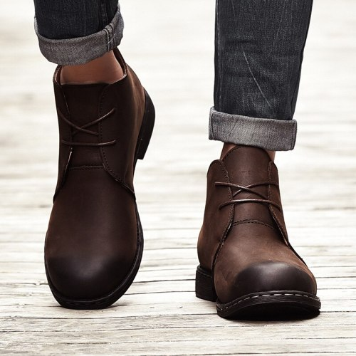 Men Boots Autumn Winter Shoes Men Fashion Lace-up Boots PU Leather