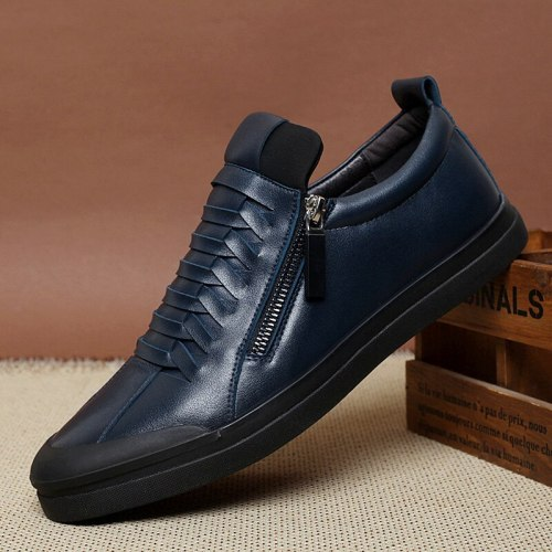 Warm Plush  Shoes Fashion  Boots Zipper Male Ankle Boots Black Shoes
