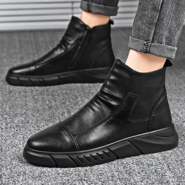 Men Boots Martins Leather Shoes Ankle Casual Shoes