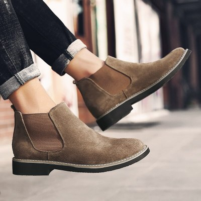 Mens Fashion Genuine Leather Boots Men Suede Ankle Boots
