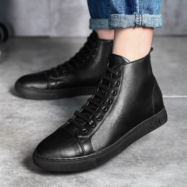 Men Business Casual Boots Leather Fashion Ankle Boots Flat Outdoor Shoes