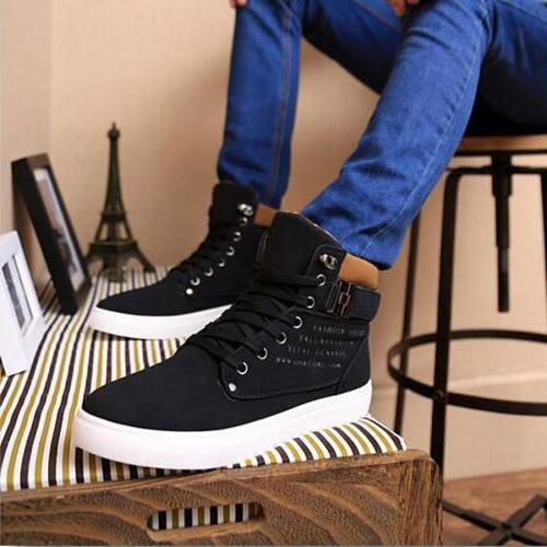 Men's shoes Lace-Up Men Canvas Shoes Ankle Boots Fashion Shoes Flats Footwear