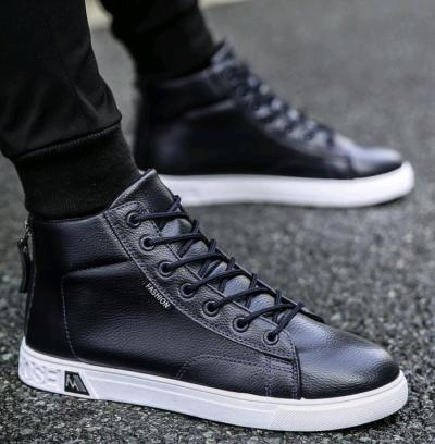 Fashion Leather Martin Boots Men's Lace-up Height Increasing Ankle Boots