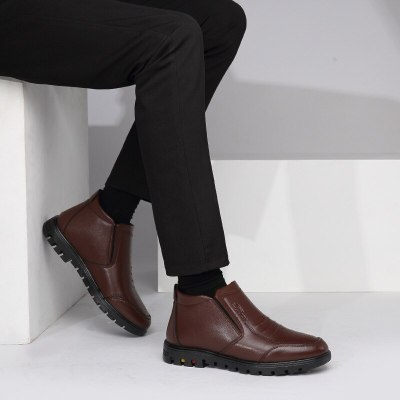 Men Winter Business Genuine Leather High-top Cotton Man Snow Boots