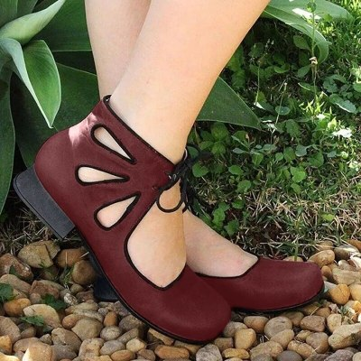 Women Shoes Pu Leather Round Toe Vintage Casual Pumps Low Heels Sandals