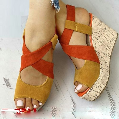 Wedges Sandals Women High Heels  Mixed Colors Cross Female Sandals