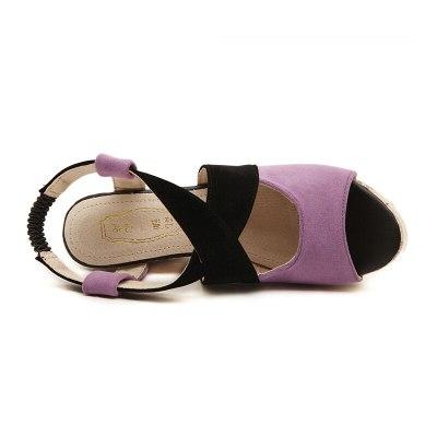 Wedges Sandals Women High Heels  Mixed Colors Cross Female Sandals