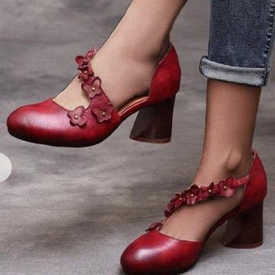 Women Pumps Gladiator Sandals High Heels Round Toe Platform Vintage Shoes