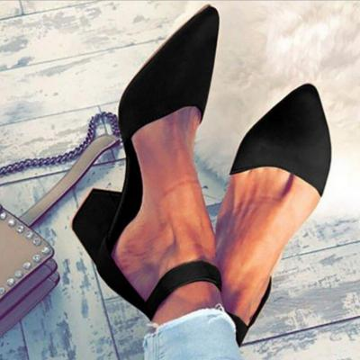 Women pumps block heels sexy sandals buckle strap pointed toe ladies shoes big size