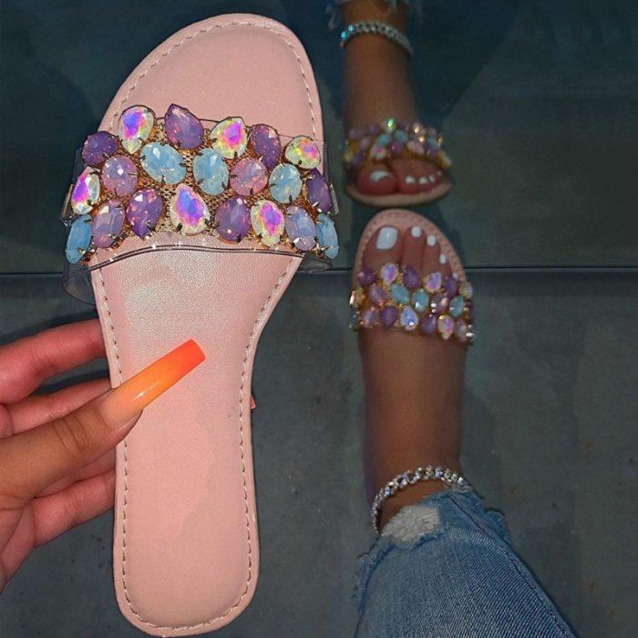 Ladies Slippers Crystal Flat  Comfort Women's Slides Clear Footwear