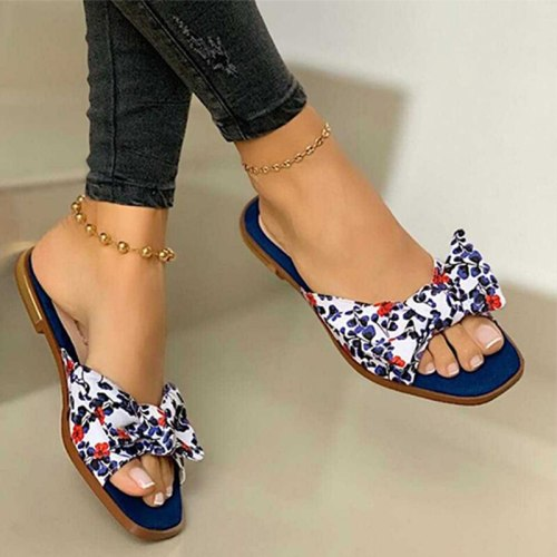 Women Slippers  Bowknot Floral Flats Slides Female Fashion Shoes