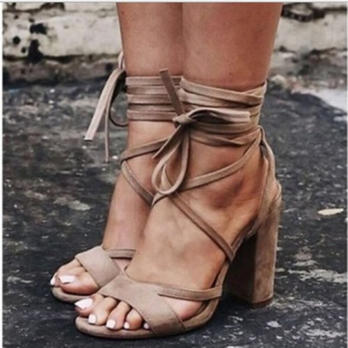 Fashion lace up high heels sandals ankle strap block heels open woman shoes