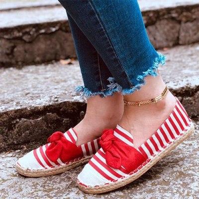 Women Flat Loafers Bow Woman Stripe Shoes Female Autumn Flat