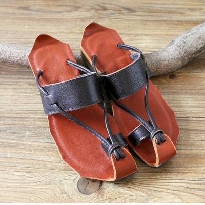 Leather pure handmade Slipper retro girl shoes Women's Slipper