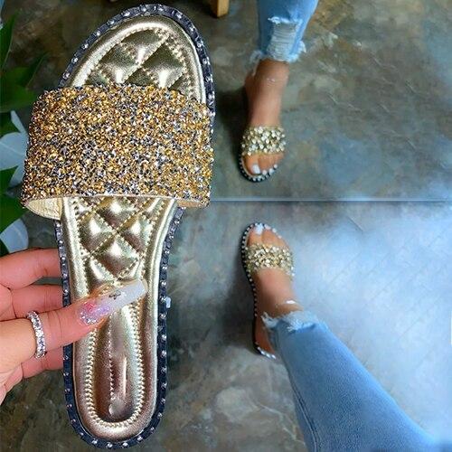Women Crystal  Bling Flats Outdoor Beach Shoes Female Footwear
