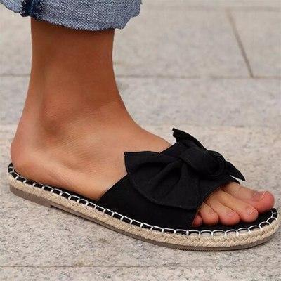 Women's slippers Open Toe Slides Ladies Stripe Bow Flat Shoes