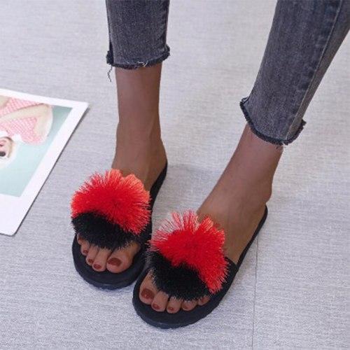 Women Fur Ball Slippers Casual Flat  Slip On Women's  Footwear