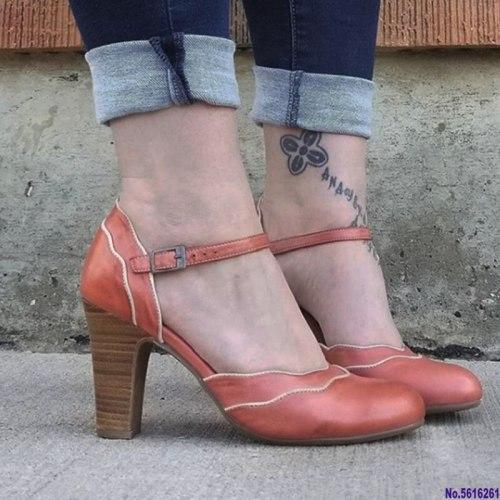 Women sandals high heels sexy buckle strap vintage pumps block heel roman shoes
