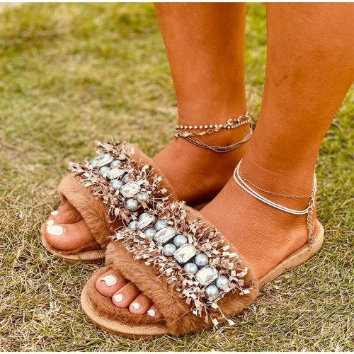 Fur Sliders For Women Furry Slippers Pearl  Woman Crystal Fur Shoes