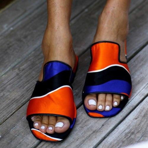 Woman Casual Silk Flat Ladies Fashion  Slides Ladies  On Shoes