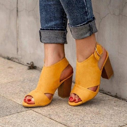 Summer Women High Heels Open Toe Sexy Buckle Strap Platform Sandals