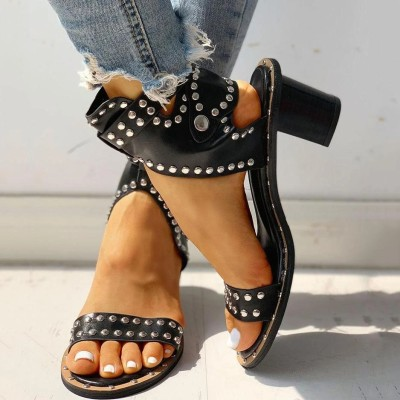 Women Sandals Mid Heels Shoes Woman Rivet Gladiator Cross-tied Sexy Sandalias
