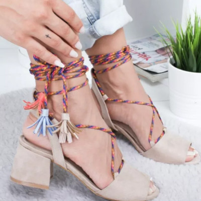 new Women Sandals Ankle Strap Flock Party Lace-Up Cross strap Solid Fashion