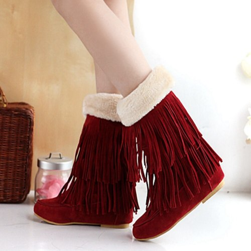 Comfortable Sole Keep Warm Plush  Fringes Winter Tassels Boots