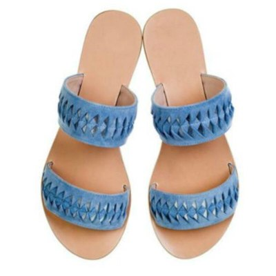Women Flat Heel Open Toe Sewing Hollow Out Rubber Fashion Ladies Shoes