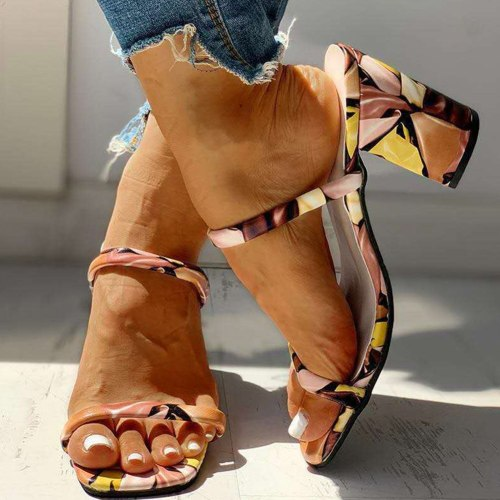 Block High Heels Printed Summer Slipper Sandals Woman Shoes Women