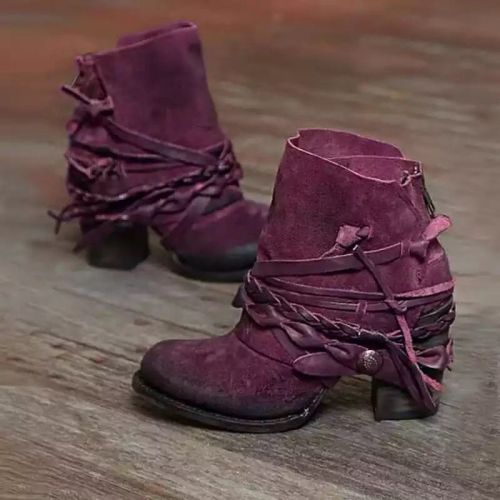 Winter Tassel Fashion Chunky High Heel Zip Solid Rubber Sole Retro Casual Shoes