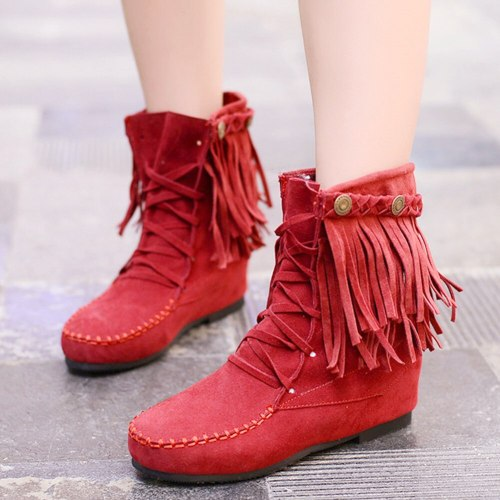 Increase Shoelaces Vintage Winter Shoes Women Tassels Boots Female