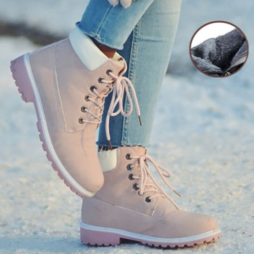 Winter Snow  Women Fur Lining Warm Short Plush Rubber Platform Shoes